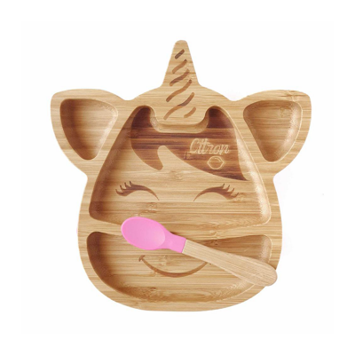 Citron Bamboo Unicorn Plate with Suction and Spoon