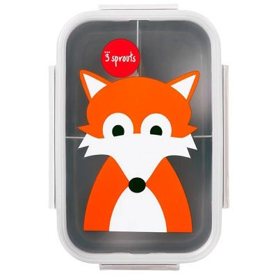 3 Sprouts Bento Lunchbox Grey Fox