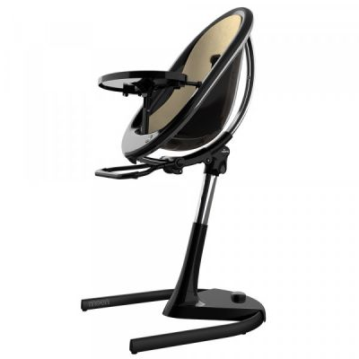 Mima Moon 2G Highchair Full Set Black + Champagne Gold Seat Pad