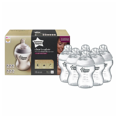 Tommee Tippee Closer To Nature Clear 260ml x 6 Bottles