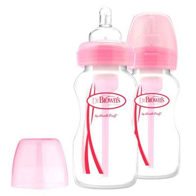 Dr. Brown's Options Wide-Neck Bottle 270ml (2 Pack) Pink